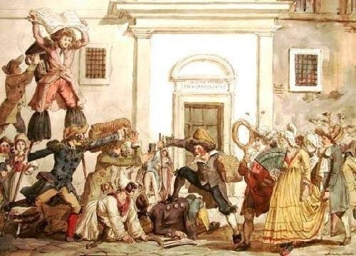 Ilustración antigua del Carnaval Romano