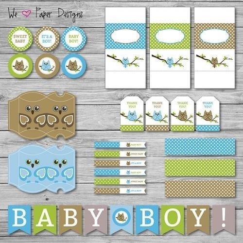 Material de decoración para imprimir para Baby Shower