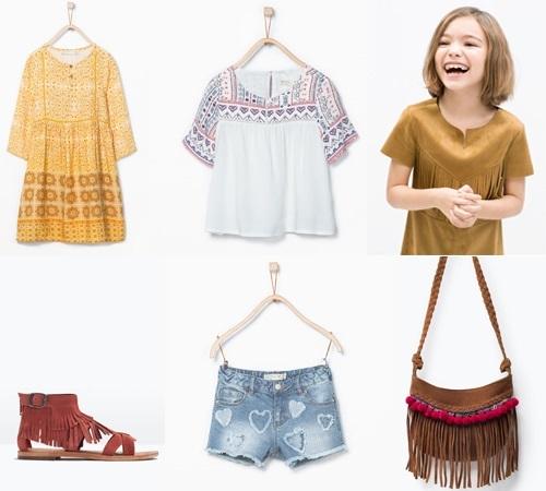 Colección Niña Zara Kids primavera verano. Estilo Hippie