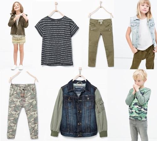 Colección niños Zara Kids primavera verano. Estilo militar