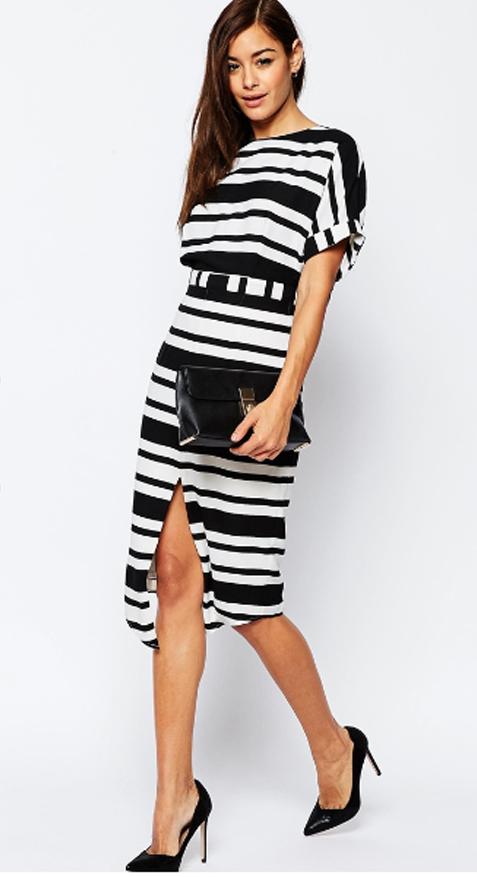 Vestido blanco y negro de rayas de Asos