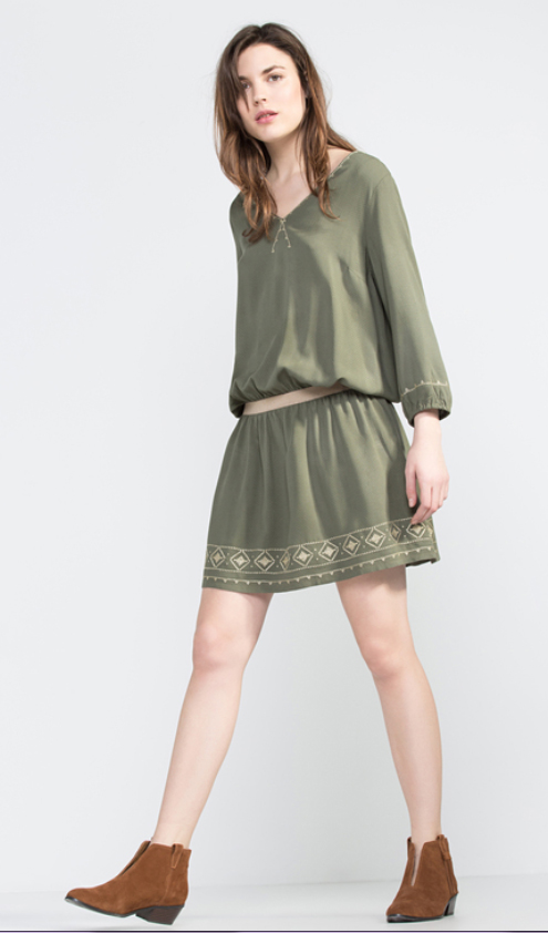 Vestido verde de Cortefiel