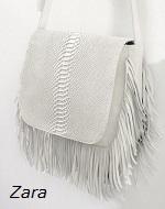 Bolso blanco con flecos de Zara Online