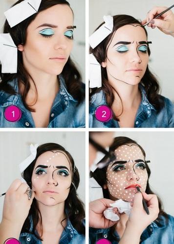 Disfraz Pop con maquillaje estilo Lichtenstein