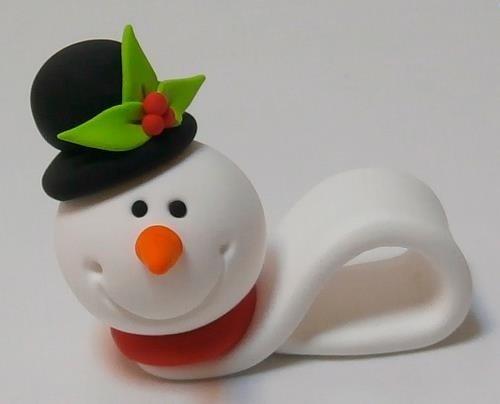 Muñeco de nieve navideño hecho con Jumping Clay