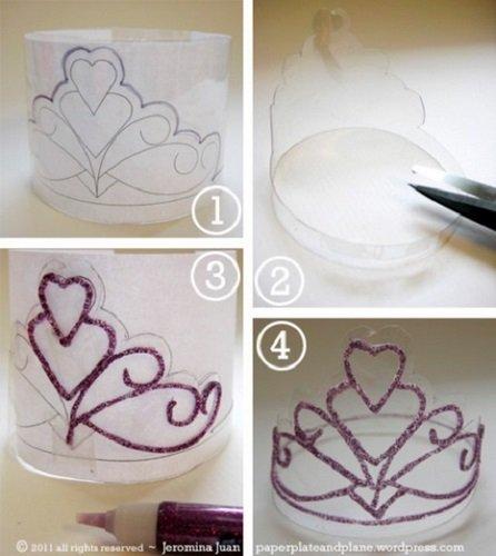 Tutorial para crear tiaras de purpurina de Paper, plate and plane